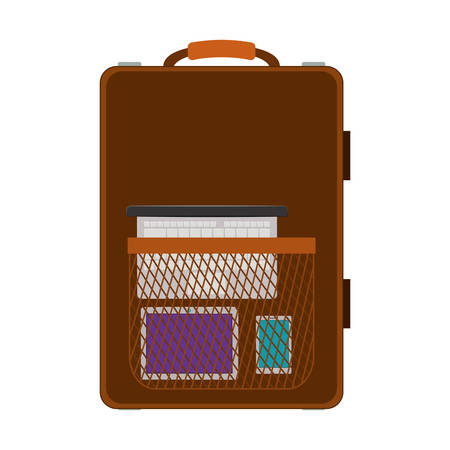 handgrip: travel suitcase brown with handle and pocket vector illustration