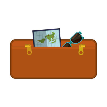handgrip: travel suitcase brown of vacation vector illustration