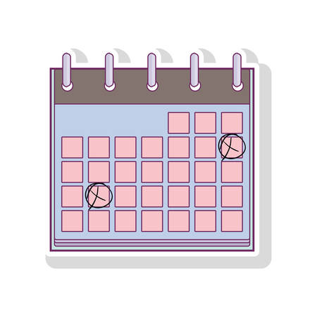 days: silhouette with calendar two days marked vector illustration