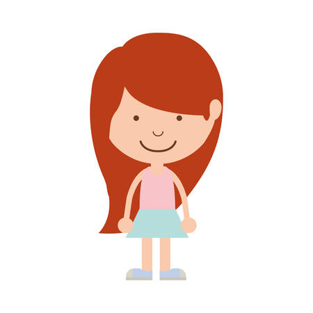 redhead girl: silhouette girl redhead with skirt vector illustration