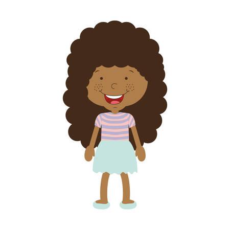 afro girl: silhouette afro girl with skirt vector illustration