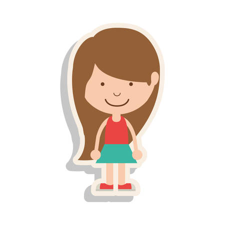 brown hair: silhouette girl brown hair and skirt with shadow vector illustration