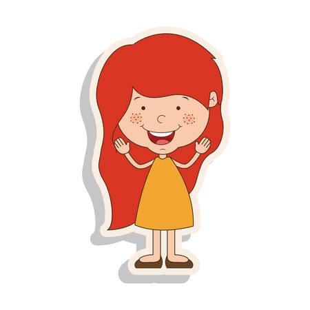 redhead girl: silhouette girl redhead with dress and shadow vector illustration Illustration