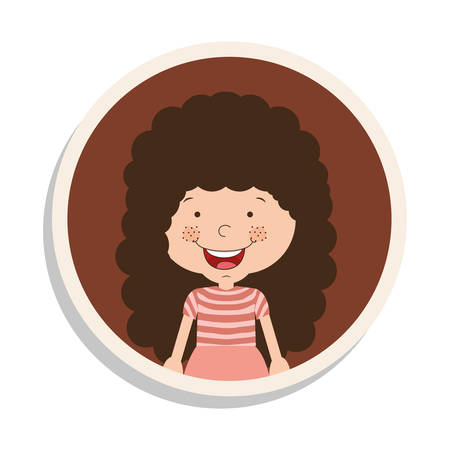 cheek: round frame and girl with curly hair and smiling vector illustration