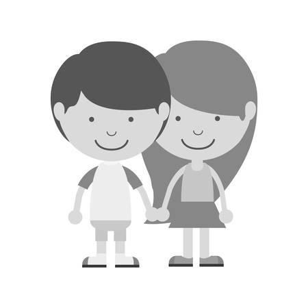 taken: monochrome couple of children taken from the hand vector illustration