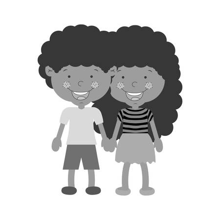 taken: monochrome couple of children taken from the hand with curly hair vector illustration