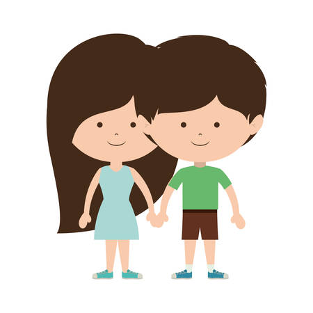 brown hair: couple of children taken from the hand and dark brown hair vector illustration Illustration