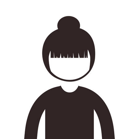 collected: silhouette half body woman collected hair vector illustration Illustration