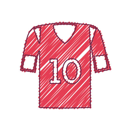 numero diez: american football shirt sport equipment with number ten over white background. sketch and draw design. vector illustration Vectores