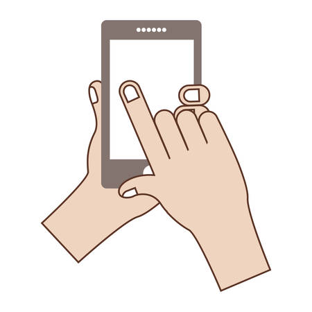 hand holding a smartphone device icon over white background. vector illustration