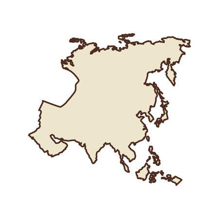garabatos: icono continente asiático. Diseño de mapa del mundo. ilustración vectorial Vectores