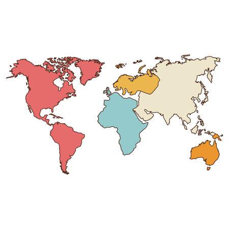 garabatos: icono de mapa del mundo. atlas de todo el mundo sobre el fondo blanco. diseño colorido. ilustración vectorial Vectores