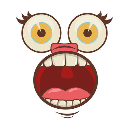cartoon face with surprised expression over white background. colorful design. vector illustration