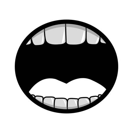 silhouette of opened mouth with teeth cartoon over white background. vector illustration Illustration