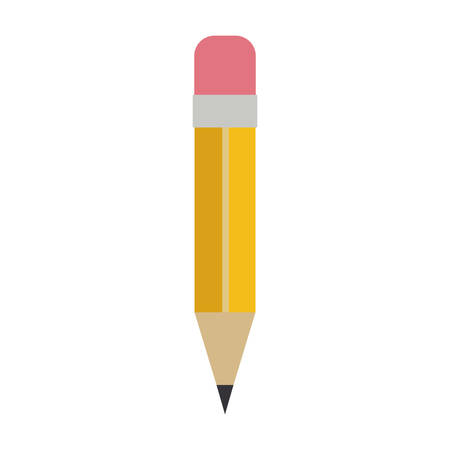 yellow pencil with eraser over white background. colorful design. vector illustration