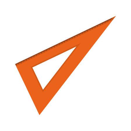 icono naranja escuadra regla sobre fondo blanco. ilustración vectorial