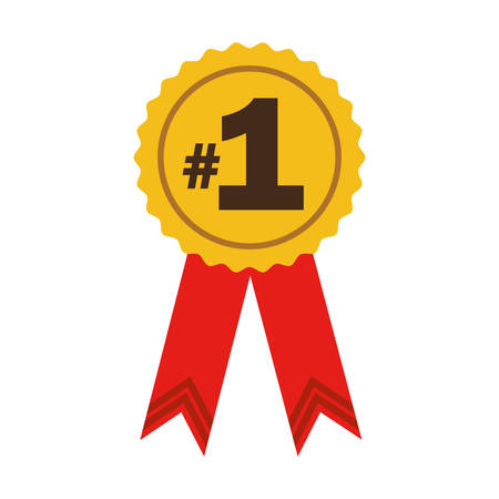 number one ribbon award in yellow and red colors icon over white background. vector illustration