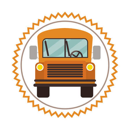 intermediate: yellow school bus vehicle over white background. vector illustration
