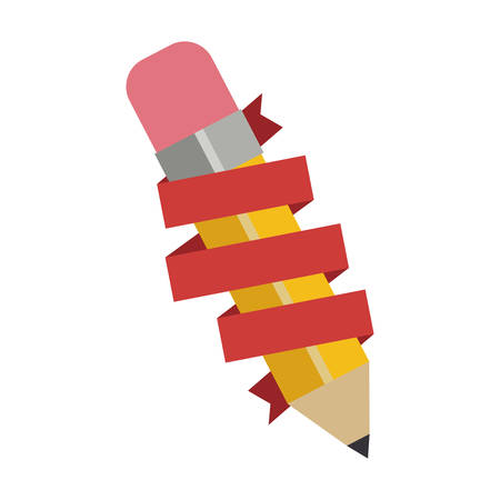 secretarial: yellow pencil with eraser and red ribbon over white background. colorful design. vector illustration Illustration