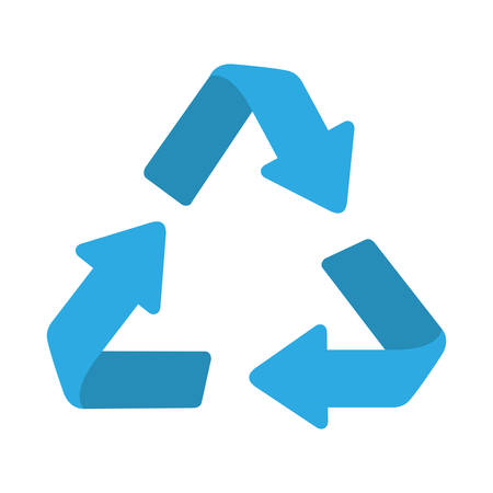 blue recycle arrows sign over white background. vector illustration