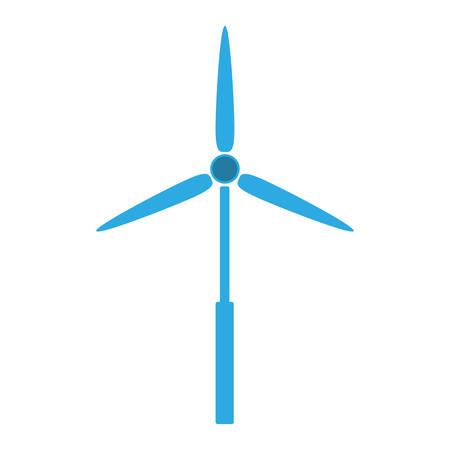 aero generator: blue eolic energy wind over white background Illustration