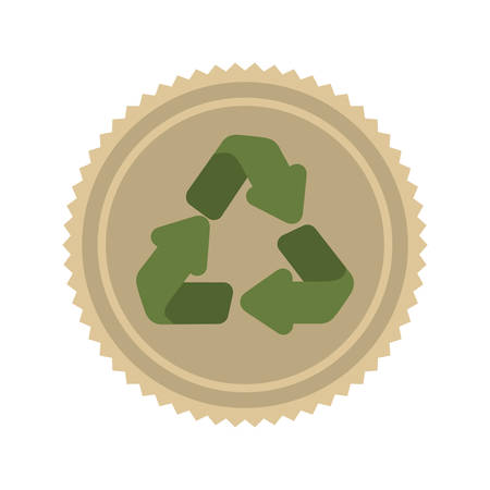 green arrows: brown seal stamp with recycle green  arrows icon inside over white background