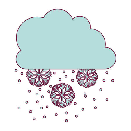 cloud with snowflakes icon over white background. snow weather