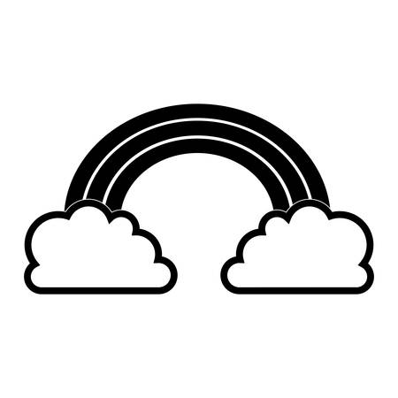 silhouette of rainbow and clouds icon over white background 矢量图像