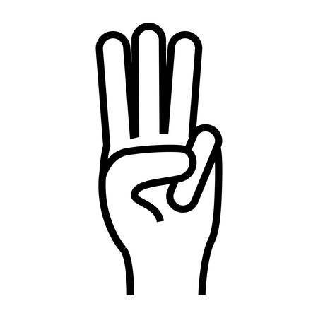 counting three fingers up hand gesture icon image illustration design