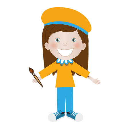 child dressed as painter icon image vector illustration design