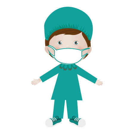 child with medical doctor costume icon image vector illustration design Illustration