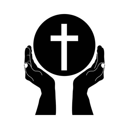church group: crucifix and hand christian or catholic icon image vector illustration design