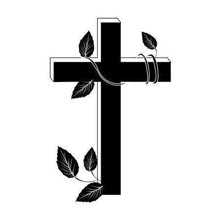 crucifix christian or catholic icon image vector illustration design