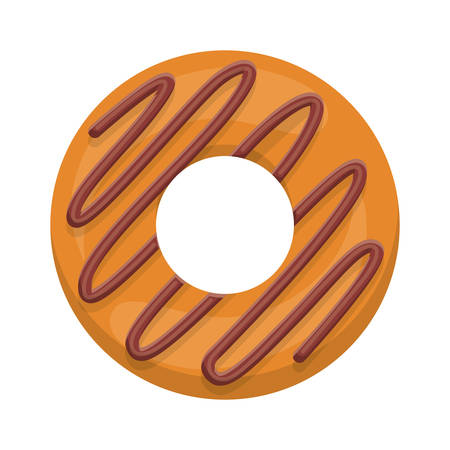 food to eat: donut with spiral in chocolate glazed vector illustration