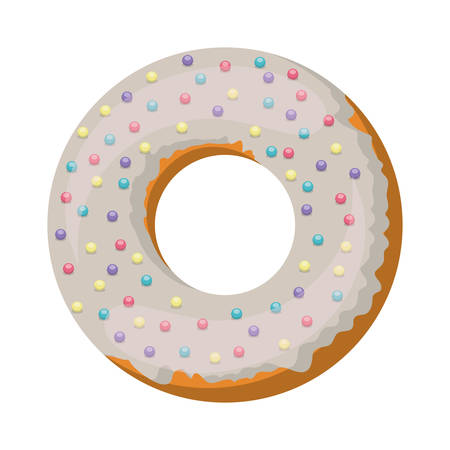 glazed: donut with white glazed and colored sparks vector illustration