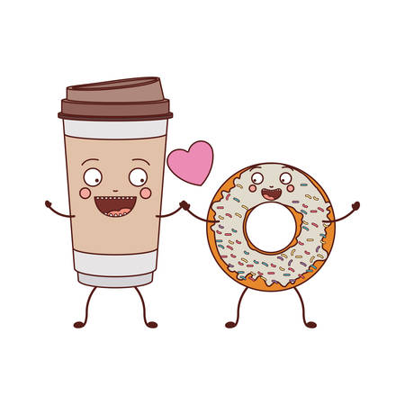 love between glass disposable and donut with white glazed vector illustration