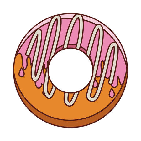 pink and brown background: donut with medium pink glazed and spiral cream vector illustration