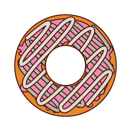 glazed: donut with spirals cream and pink glazed