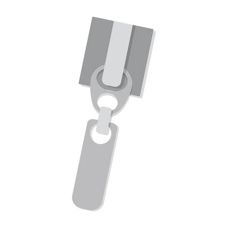 fasteners: silhouette side zipper with gray square body and large handle vector illustration Illustration