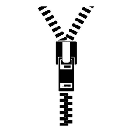 unzip: black silhouette sewing with square zipper vector illustration