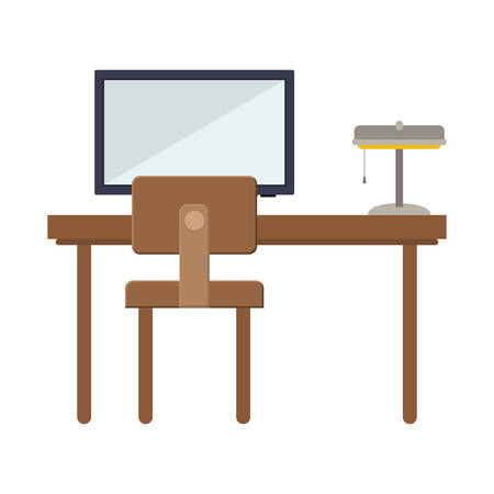 flat screen: front view desk with flat screen and lamp vector illustration
