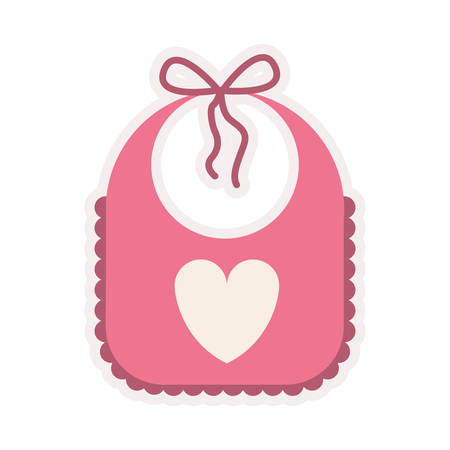face cloth: pink bib with heart silhouette vector illustration Illustration