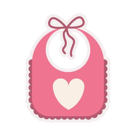 tucker: pink bib with heart silhouette vector illustration Illustration