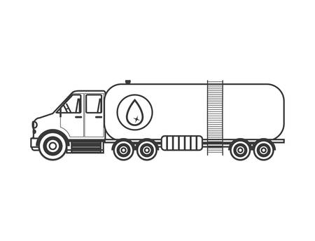 transporter: silhouette with truck transporter of fuel vector illustration