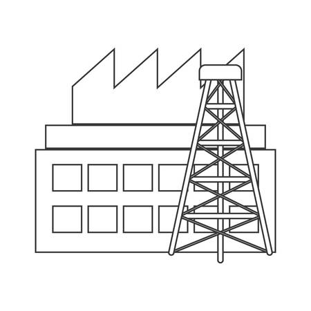 extraction: silhouette with industry and tower oil extraction vector illustration