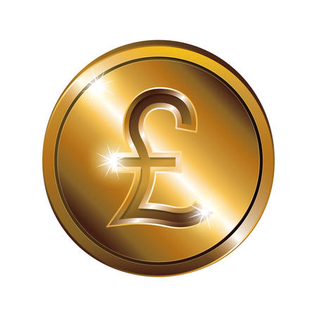 Silhouette With Coin Gold And Currency Symbol Of Sterling Pound