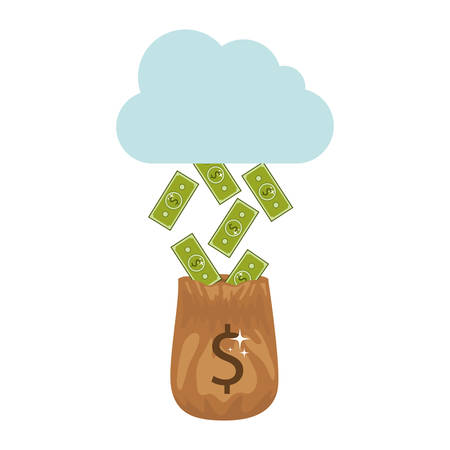 silhouette with money falling of the cloud in bag vector illustration