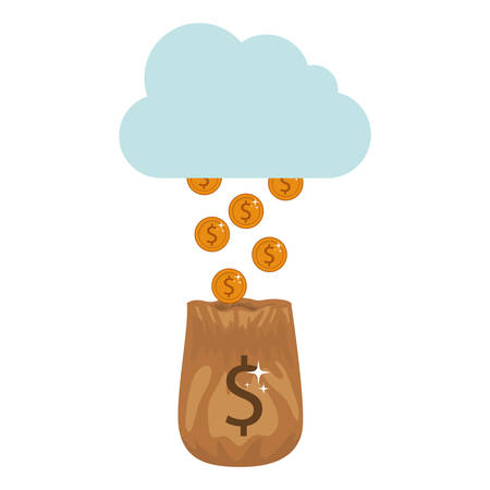 silhouette with golden coins falling of the cloud in bag vector illustration