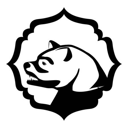 growling: monochrome silhouette with bear head in frame vector illustration