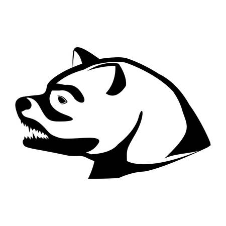 growling: monochrome silhouette with decorative bear head growling vector illustration